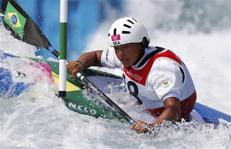 Brazil's Ana Satila competes in the women's kayak (K1) heats at Lee Valley White Water Centre during the London 2012 Olympic Games July 30, 2012. REUTERS/Paul Hanna