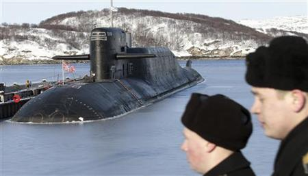A view shows Russia's nuclear-powered submarine Yekaterinburg at a Russian navy base in Murmansk region March 16, 2011. REUTERS/Andrei Pronin