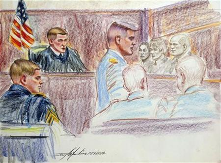 Sergent Adam Holcomb (L), looks on during court-martial proceedings at Fort Bragg, North Carolina in this artist's rendering July 24, 2012. REUTERS/Jerry Mcjunkins