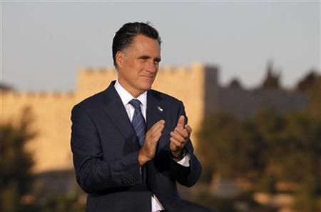 U.S. Republican Presidential candidate Mitt Romney is pictured before delivering foreign policy remarks at Mishkenot Sha'ananim in Jerusalem, July 29, 2012. REUTERS/Jason Reed
