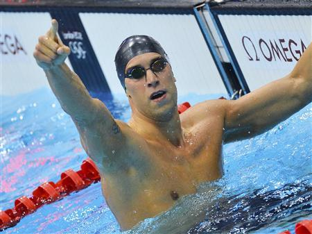 Matt Grevers of the U.S. reacts after he won the men's 100m backstroke final at the London 2012 Olympic Games at the Aquatics Centre July 30, 2012. REUTERS/Toby Melville