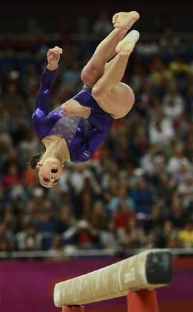 Jordyn Wieber of the U.S. performs on the balance beam during the women's gymnastics qualification at the North Greenwich Arena during the London 2012 Olympic Games July 29, 2012. REUTERS/Dylan Martinez