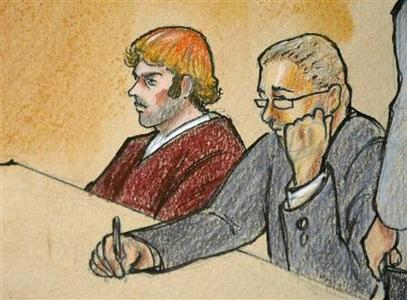 A courtroom sketch of the second court appearance of James Holmes (L), accused of the July 20, 2012 theater shootings, at his second court appearance with his public defender attorney Daniel King in Centennial, Colorado July 30, 2012. . REUTERS/Jeff Kandyba