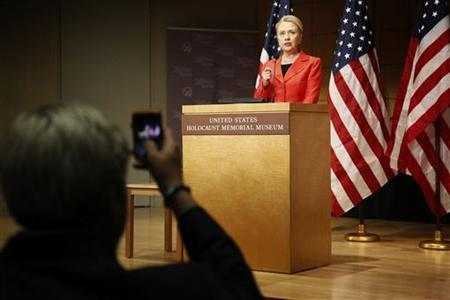 U.S. Secretary of State Hillary Clinton delivers the keynote address at a symposium on ending genocide, at the U.S. Holocaust Memorial Museum in Washington, July 24, 2012. REUTERS/Jonathan Ernst