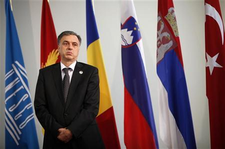 Montenegro's President Filip Vujanovic listens to a question during a news conference after the UNESCO 10th Summit in Mostar, June 3, 2012. REUTERS/Dado Ruvic