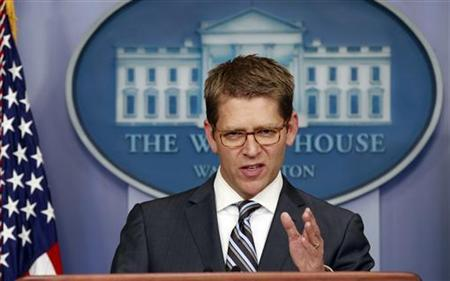 White House Press Secretary Jay Carney speaks about the situation in Syria during a briefing at the White House in Washington July 18, 2012. REUTERS/Kevin Lamarque
