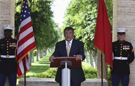 U.S. Secretary of Defense Leon Panetta speaks at the North Africa American Cemetery where 2,841 U.S. soldiers killed in World War II are buried, in Tunis July 30, 2012. REUTERS/Mark Wilson/Pool