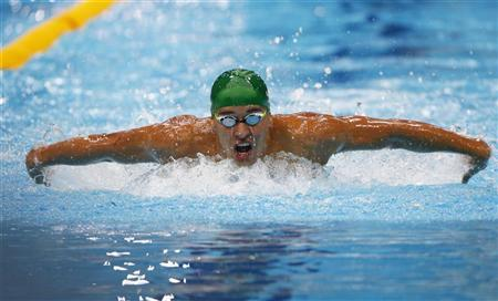 Chad le Clos of South Africa swims in his men's 200m butterfly semi-final during the London 2012 Olympic Games at the Aquatics Centre July 30, 2012. REUTERS/David Gray