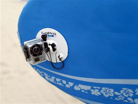 A GoPro camera is seen on a surfboard at Manhattan Beach, California May 14, 2011. REUTERS/Lucy Nicholson