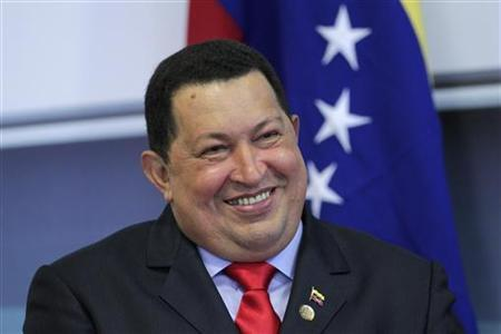 Venezuela's President Hugo Chavez smiles during a news conference after meeting with presidents of the Mercosur trade bloc in the Special Mercosur summit at Planalto Palace in Brasilia July 31, 2012. REUTERS/Ueslei Marcelino