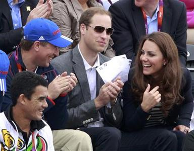 (L-R) Britain's Peter Phillips, Prince William and Kate Middleton, Duchess of Cambridge talk as they attend the Eventing Jumping equestrian event at the London 2012 Olympic Games in Greenwich Park, July 31, 2012. REUTERS/Luke Macgregor
