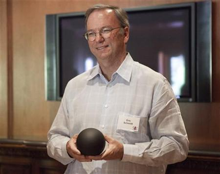 Executive Chairman of Google Eric Schmidt talks about the Nexus Q at the Allen & Co Media Conference in Sun Valley, Idaho July 12, 2012. REUTERS/Jim Urquhart
