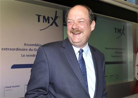 TMX Group Inc. Chief Executive Officer Thomas Kloet laughs before the annual general meeting of shareholders in Toronto May 11, 2012. REUTERS/ Mike Cassese