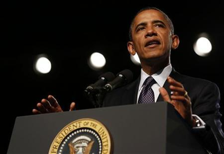 President Barack Obama speaks at the 113th VFW National Convention in Reno, Nevada, July 23, 2012. REUTERS/Larry Downing