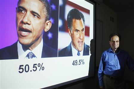 Emory professor Alan Abramowitz poses in front of a slide predicting President Barack Obama as winning the 2012 U.S. Presidential election at Emory University in Atlanta, Georgia, July 27, 2012. REUTERS/Tami Chappell