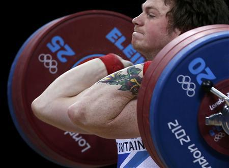 Great Britain's Jack Oliver competes on the men's 77Kg Group B weightlifting competition at the ExCel venue at the London 2012 Olympic Games August 1, 2012. REUTERS/Suhaib Salem