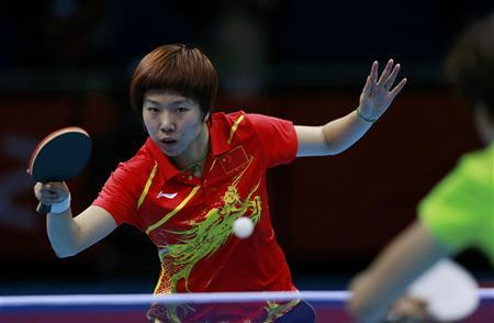 China's Li Xiaoxia hits a return to China's Ding Ning in their women's singles gold medal table tennis match at the ExCel venue during the London 2012 Olympic Games August 1, 2012. REUTERS/Adrees Latif