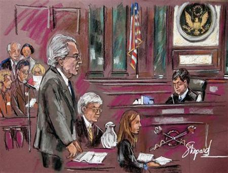 Disgraced financier Bernard Madoff stands during his sentencing hearing in New York in this court artist's sketch completed June 29, 2009. REUTERS/Shepard