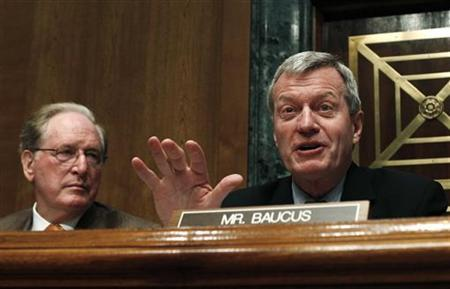 Senate Finance Committee Chairman Max Baucus speaks during a hearing on oil and gas tax incentives and rising energy prices, on Capitol Hill in Washington May 12, 2011. REUTERS/Kevin Lamarque