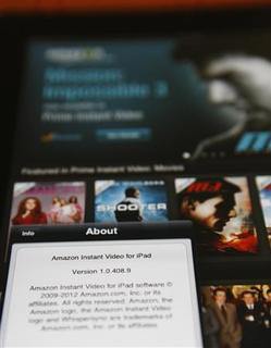 The Amazon streaming video app for Apple's iPad is seen in Los Angeles August 1, 2012. Amazon.com launched the video application for Apple's iPad on Wednesday, the latest effort by the world's largest retailer to get its digital content on as many gadgets as possible. REUTERS/Sam Mircovich