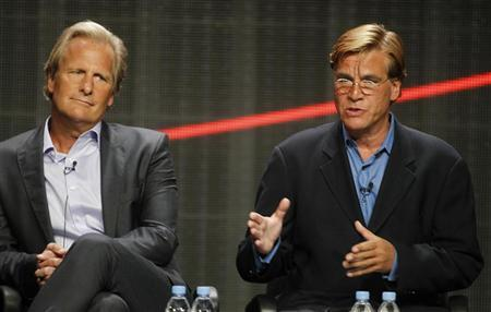Actor Jeff Daniels star of ''The Newsroom'' and creator and executive producer Aaron Sorkin (R) speak during the HBO presentation at the Cable portion of the Television Critics Association Summer press tour in Beverly Hills, California August 1, 2012. REUTERS/Fred Prouser