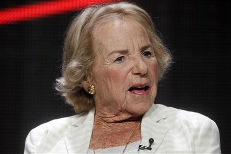 Ethel Kennedy, widow of Robert F. Kennedy, speaks about the film ''Ethel'' which her daughter documentary filmmaker and producer Rory Kennedy made, during the HBO presentation at the Cable portion of the Television Critics Association Summer press tour in Beverly Hills, California August 1, 2012. Rory was born 6 months after her father Robert F. Kennedy was assassinated in Los Angeles in 1968. REUTERS/Fred Prouser