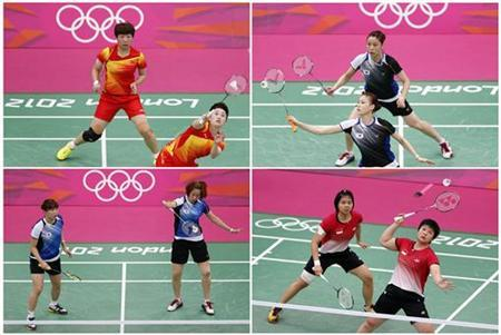 Combination photo made August 1, 2012 shows the women's doubles pair of (clockwise from top left) China's Wang Xiaoli (L) and Yang Yu, South Korea's Jung Kyung Eun (Top) and Kim Ha Na, Indonesia's Greysia Polii and Meiliana Jauhari and South Korea's Ha Jung-eun (L) and Kim Min-jung during their matches during the London 2012 Olympics. REUTERS/Bazuki Muhummad/Files