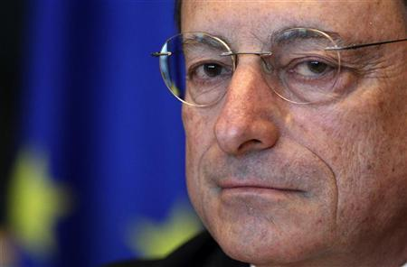 European Central Bank (ECB) President Mario Draghi looks on before testifying before the European Parliament's Economic and Monetary Affairs Committee in Brussels July 9, 2012. REUTERS/Francois Lenoir