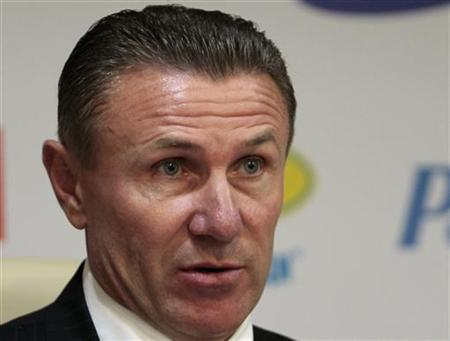 National Olympic Committee President Sergei Bubka speaks during a news conference at the National Olympic Committee in Kiev, June 20, 2012. REUTERS/Anatolii Stepanov