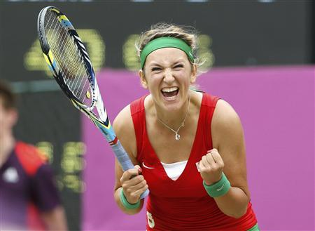 Belarus' Victoria Azarenka celebrates after defeating Germany's Angelique Kerber in their women's singles tennis quarterfinals match at the All England Lawn Tennis Club during the London 2012 Olympic Games August 2, 2012. REUTERS/Stefan Wermuth