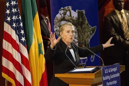 U.S. Secretary of State Hillary Clinton speaks at the University of Dakar in Dakar August 1, 2012. REUTERS/Jacquelyn Martin/Pool