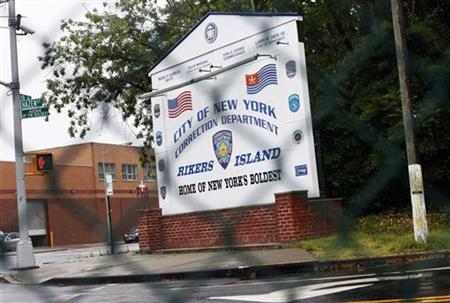 The entrance to the City of New York Rikers Island Correction Department facility is seen in the Queens borough of New York May 16, 2011. REUTERS/Shannon Stapleton