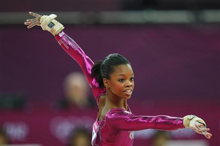 Gabrielle Douglas of the U.S. performs her floor exercise during the women's individual all-around gymnastics final in the North Greenwich Arena at the London 2012 Olympic Games August 2, 2012. REUTERS/Brian Snyder