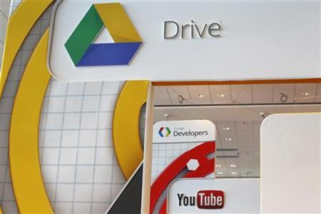 A Google Drive and Youtube logo is seen during Google I/O Conference at Moscone Center in San Francisco, California June 28, 2012. REUTERS/Stephen Lam