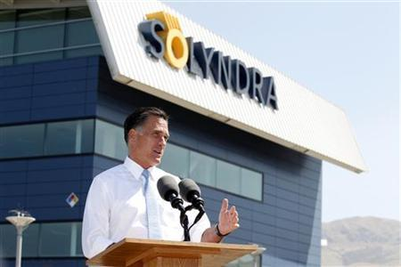 Republican presidential candidate and former Massachusetts Governor Mitt Romney speaks at the former Solyndra headquarters and factory in Fremont, California, May 31, 2012. REUTERS/Beck Diefenbach