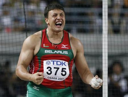 Ivan Tsikhan of Belarus reacts after competing in the men's hammer throw final at the 11th IAAF World Athletics Championship in Osaka August 27, 2007. REUTERS/Ruben Sprich