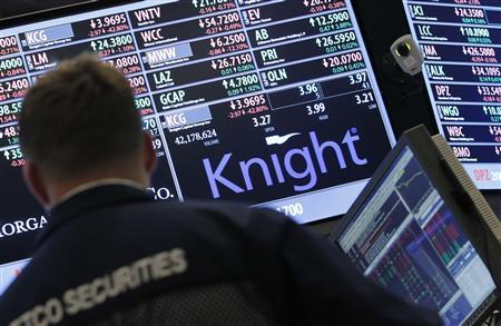 A trader stands by the post that trades Knight Capital on the floor of the New York Stock Exchange August 2, 2012. REUTERS/Brendan McDermid