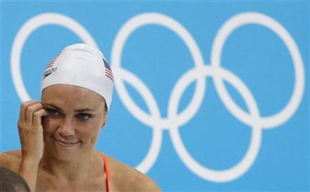 Member of the U.S. national Olympic swimming team Natalie Coughlin is seen at the Aquatics Centre before the start of the London 2012 Olympic Games in London, July 23, 2012. REUTERS/David Gray