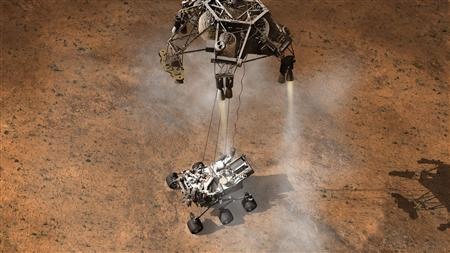 This artist's concept depicts the moment that NASA's Curiosity rover touches down onto the Martian surface. REUTERS/NASA-JPL/Handout