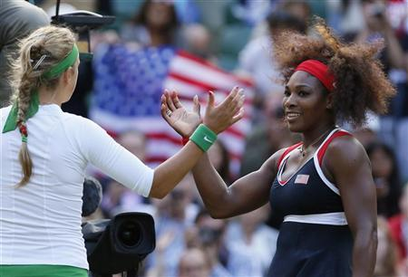 Serena Williams of the U.S. shakes hands with Belarus' Victoria Azarenka (L) after defeating her in their women's singles tennis semi-final match at the All England Lawn Tennis Club during the London 2012 Olympic Games August 3, 2012. REUTERS/Stefan Wermuth