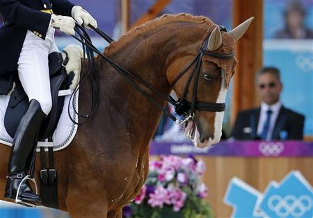 Japan's Hiroshi Hoketsu rides Whisper during the equestrian individual dressage Grand Prix Day 1 at the Greenwich Park at the London 2012 Olympic Games August 2, 2012. REUTERS/Mike Hutchings