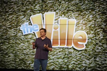 Zynga Senior Vice President of Product Development Mark Skaggs speaks during the Zynga Unleashed event at the company's headquarters in San Francisco, California June 26, 2012. REUTERS/Stephen Lam