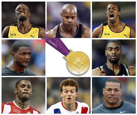 A combination of pictures shows this year's eight fastest men on the track in the competition for the men's 100m final of the London 2012 Olympic Games to be celebrated next August 5, 2012. From top row L to R: Jamaica's Usain Bolt, Asafa Powell and Yohan Blake. Middle row L to R: Justin Gatlin and Tyson Gay of the U.S. Bottom row from L to R: Trinidad and Tobago's Keston Bledman, France's Christophe Lemaitre and Ryan Bailey of the U.S. Over 116 years the Olympic 100 metres final has produced drama, pain, controversy, disillusionment, incredulity and unbridled joy - all crammed into a race lasting little longer than it takes to say ''Baron Pierre de Coubertin.'' REUTERS/Staff
