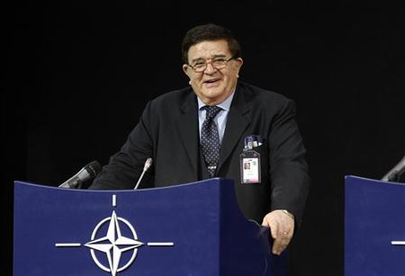 Afghan Defence Minister Abdul Rahim Wardak holds a news conference after a meeting of NATO Foreign Ministers with non-ISAF contributing nations in Brussels April 19, 2012. REUTERS/Sebastien Pirlet