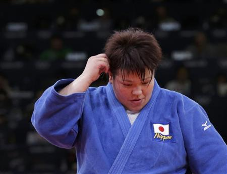 Japan's Mika Sugimoto reacts after losing her women's +78kg gold medal judo match against Cuba's Idalys Ortiz at the London 2012 Olympic Games August 3, 2012. REUTERS/Toru Hanai