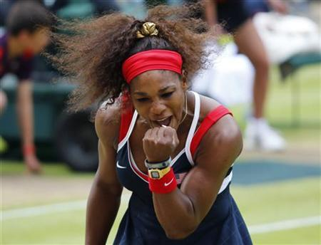 Serena Williams of the U.S. reacts during the women's singles gold medal match against Russia's Maria Sharapova at the All England Lawn Tennis Club during the London 2012 Olympic Games August 4, 2012. REUTERS/Mike Blake