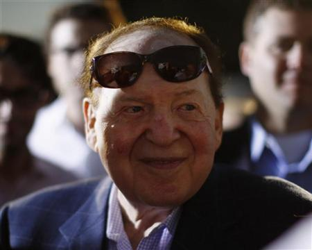 Sheldon Adelson, Chairman of Las Vegas Sands Corp, is pictured after attending U.S. Republican Presidential candidate Mitt Romney's foreign policy remarks at Mishkenot Sha'ananim in Jerusalem, July 29, 2012. REUTERS/Jason Reed