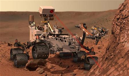 This artist's concept depicts the rover Curiosity, of NASA's Mars Science Laboratory mission, as it uses its Chemistry and Camera (ChemCam) instrument to investigate the composition of a rock surface. REUTERS/ NASA/JPL-Caltech/Handout