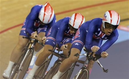 Jennie Reed, Dotsie Bausch and Sarah Hammer of the U.S. compete in the track cycling women's team pursuit first round heats at the Velodrome during the London 2012 Olympic Games August 4, 2012. REUTERS/Cathal McNaughton
