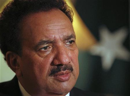 Pakistan's Interior Minister Rehman Malik attends an interview with Reuters in Islamabad September 22, 2011. REUTERS/Faisal Mahmood